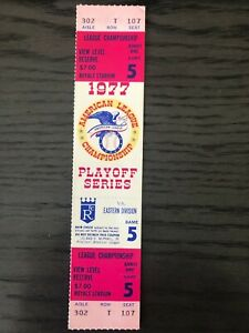 1977 American League Championship Series Game 5 Unused Ticket Yankees vs Royals