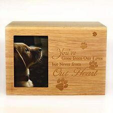 Cremation Urn with Picture Holder Wooden Pet Dog Cat Ashes Memorial Keepsake Box