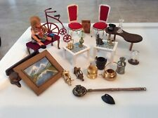 27 Pc Dollhouse Miniatures Furnature Household Items People Brass Miscellaneous