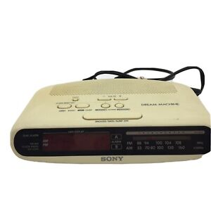 Sony Dream Machine Dual Alarm AM/FM Alarm Clock Radio ICF-C370 Ivory