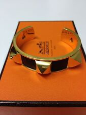 AUTHENTIC HERMES MEDOR  CUFF BRACELET RARE BLACK LEATHER GOLD PYRAMIDS