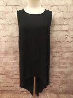 Eileen Fisher Black Silk Hi-Low Tunic Sleeveless Tank Blouse Top - Size Small