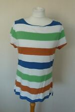 GAP Blue Green Brown White Stripe Cotton Jersey T-Shirt Top Size XL UK 16-18