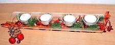 Advent Kerzenhalter Teelichthalter aus Glas Weihnachtsdeko rot Adventskranz
