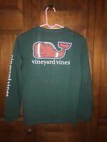 NWT Vineyard Vines Kids Green Football Whale Pocket L/S Shirt Sz L (16)