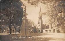 UNIONVILLE, CT ~ CIVIL WAR SOLDIERS MONUMENT & CHURCH ~ REAL PHOTO PC ~ used