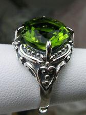 6ct Round Cut Sim Green Peridot Sterling Silver Victorian Filigree Ring Size 4