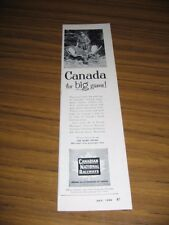 1954 Print Ad CNR Canadian National Railways Hunter with Trophy Moose