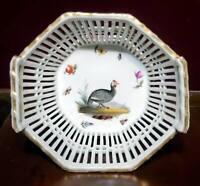Antique KPM Berlin Porcelain Reticulated Basket HP Game Bird 1844-1847 Mark
