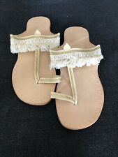 New ! Leather  Handmade Sandals Size 39 Tassels / Fringe / Ivory Gold  Thong