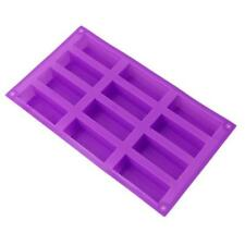 Silicone 12 Rectangle Handmade Soap Mold DIY Craft Cake Ice Making Mould Tray 6A
