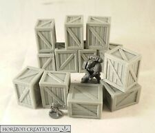 HC3D - Crates 25x20x30mm - 12 Pack -Terrain & Scenery Fantasy