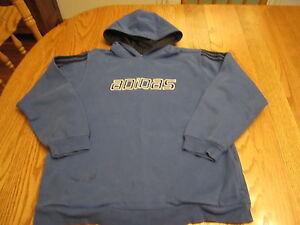 Adidas Youth Boys Size Large Blue Hoodie w Logo Kangaroo Pocket Sweatshirt