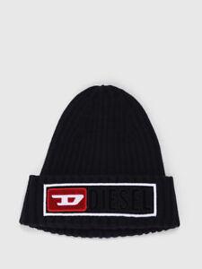 Diesel Jeans K-CODER-B Beanie Hat Black Red Cap Wooly chunky ribbing Wool