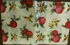 "THIN FLANNEL BACK Vinyl Tablecloth 52""x90"" Oblong,(6-8 pp) Red APPLES & Flowers"