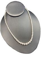 """Vintage High-Quality Signed Napier Graduated white  Beaded Pearl Necklace 18"""""""