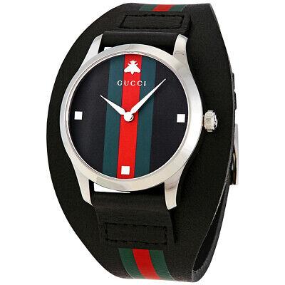 GUCCI Women's G-Timeless BLACK Genuine Leather Cuff Swiss Made Watch YA1264092