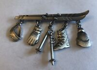 Vintage JJ JONETTE Pewter Ski Brooch Pin With Charms Attached