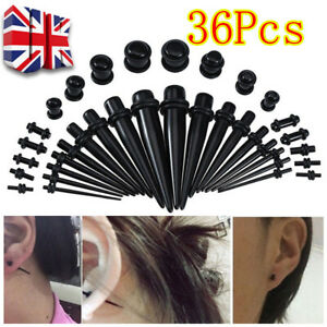 Acrylic Ear Taper Stretchers Expanders Kit Tapers Black Set UK SALE