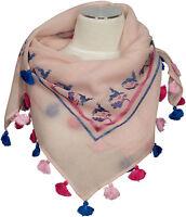 Trachtentuch Rosa Blau Pink 100%Wolle wool scarf Stickerei Gämse Eichen Quasten