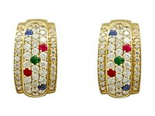 Vintage 1.96ct Diamond Sapphire Ruby and Emerald Yellow Gold Earrings