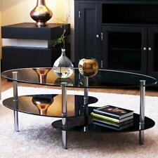 "Ryan Rove Orion 38"" Oval Two Tier Clear Glass Coffee Table Under Glass Storage"