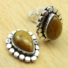 925 Silver Plated Unseen TIGER'S EYE HANDCRAFTED Earrings 3/8 Inches