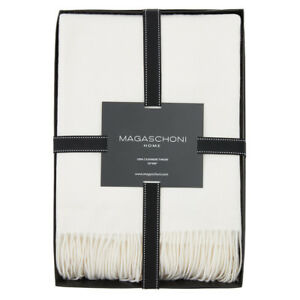 """MAGASCHONI 100% Cashmere Tassled Throw Vintage White New in Box 50"""" x 60"""""""