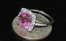 Vintage Estate 10K Gold Pink Sapphire White Topaz Ring 3.00Grams 4.40cts Sz 5.5