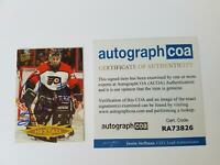 Ron Hextall Philadelphia Flyers Autographed Hockey Card 95-96 Fleer Ultra ACOA