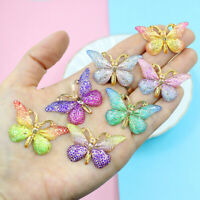 5Pcs Colorful Butterfly Charms Pendant DIY Necklace Jewelry Beads Making Craft