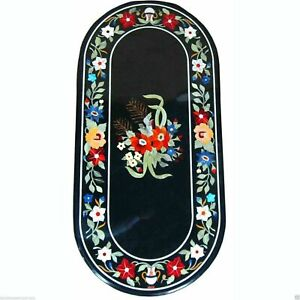 """18""""x36"""" Marble Handmade Table Top Antique Elite Furniture Rare Inlay Mosaic Home"""