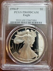 1996-P American Silver Eagle Dollar PR69DCAM PCGS Proof 69 Deep Cameo