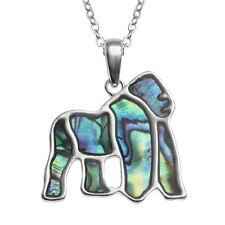 Blue Green Abalone / Paua Shell Gorilla Pendant Silver Chain Necklace