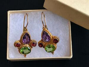 VTG Gold Washed 925 Sterling 4 Gem Stones Earrings--Affordable Mother's Day Gift