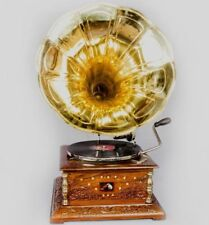 Vintage 1880 Hmv Gramaphone With Antique Old Music Square Box Phonograph HB 03