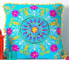 """Suzani Hand Embroidery Cushion Cover Indian Pillow Cases Blue 20x20"""""""
