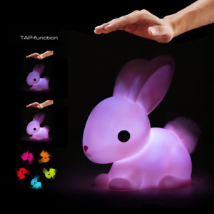 Colour Changing LED Night Light Medium Pink Bunny