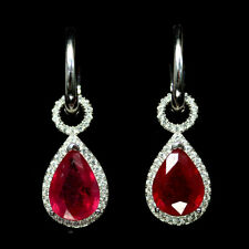 NATURAL 8 X 12mm. PINK RUBY & WHITE CZ EARRINGS 925 SILVER STERLING