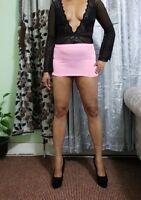Pink Short Mini Skirt Women's Ladies High Waist Girls Just 8'' Bandage  044