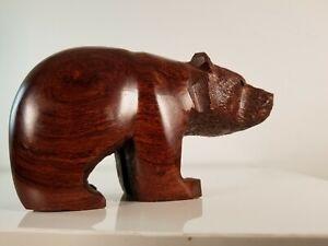 "Beautiful 6"" long Bear Sculpture Hand-Carved. 3-5/8"" tall 1lb heavy redish wood"