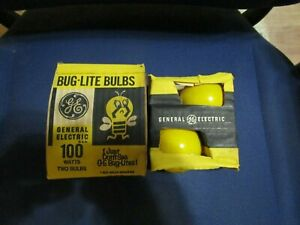 2 Vintage NOS GE General Electric Bug Lite Yellow 100 Watt Light Bulbs 120V