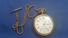 1910 Elgin Open Face Pocket Watch with Chain for parts