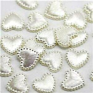 100 x Ivory Heart Embellishments Cabouchons Wedding Invites