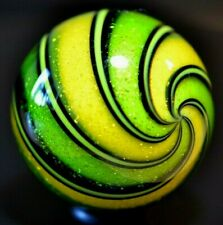 """HOT HOUSE GLASS MARBLE/1.727""""-DICHROIC YELLOW & LIME # 456-LIME GREEN DICHROIC+"""