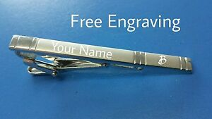 PERSONALISED TIE PIN BAR CLIP CLASP ENGRAVED FREE HUSBAND WEDDING BIRTHDAY GIFT