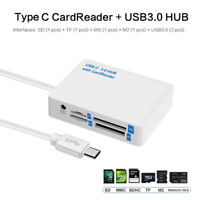 7 in 1 2 USB 3.0 Type C MicroSD SD SDHC M2 MS TF Memory Card Reader OTG Adapter