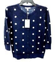 1901 Nordstrom Womens Medium Navy Polka Dot Button Cardigan Sweater Top NWT