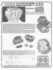 Rickman T120 Triumph 8 valve brochure & Parts List COPIES