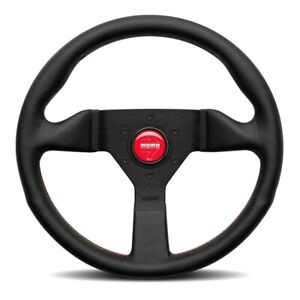 MOMO Monte Carlo Black Leather Red Stitching 350mm Steering Wheel MCL35BK3B